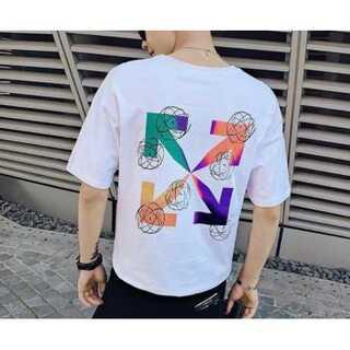 レインボー Tシャツ メンズ オフホワイト 白 ホワイト レディース(Tシャツ/カットソー(半袖/袖なし))