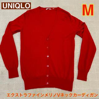 UNIQLO - ユニクロ エクストラファインメリノVネックカーディガン レッド