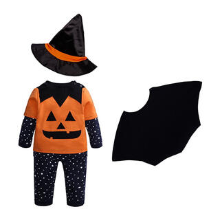 ハロウィン かぼちゃ コスプレ 上下セット マント 帽子 4点セット 100cm(衣装一式)
