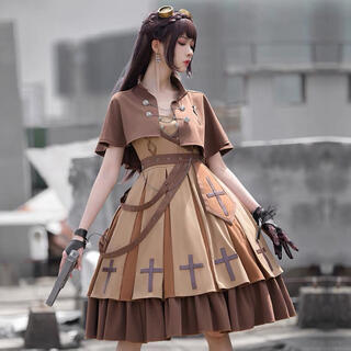Ⓜ️ミリタリーゴスロリ原宿レトロ貴族ヨーロッパ姫高品質十字架ケープドレスブーツ(衣装一式)