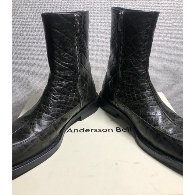 Saint Laurent(サンローラン)のAnderssonbell クロコ スクエアトゥ サイドジップブーツ メンズの靴/シューズ(ブーツ)の商品写真