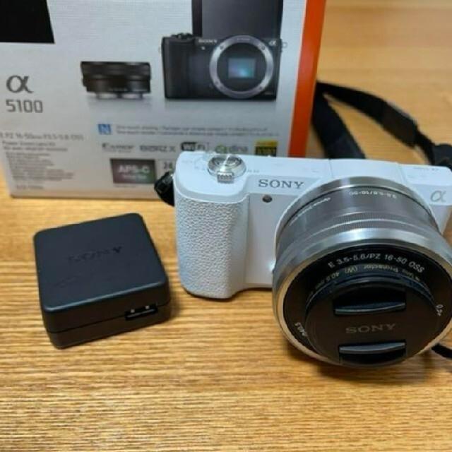 SONY(ソニー)のSONY ILCE−5100 α5100 ホワイト カメラ ミラーレス 一眼レフ スマホ/家電/カメラのカメラ(ミラーレス一眼)の商品写真