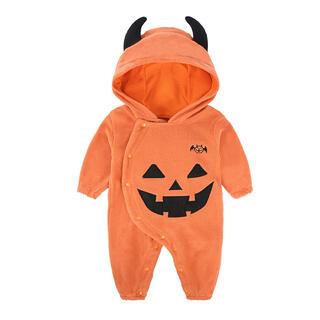 ハロウィン かぼちゃロンパース ハロウィンコスプレ 90cm(衣装一式)
