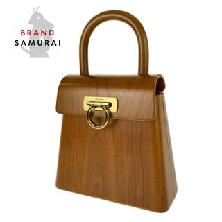 サルヴァトーレフェラガモ(Salvatore Ferragamo)のサルヴァトーレフェラガモ 木製 ハンドバッグ ウッドバッグ 300496(ハンドバッグ)