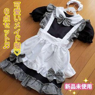 【新品未使用】☆ハロウィン☆ コスプレ メイド 6点セット Mサイズ(衣装一式)