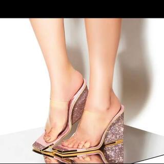 YELLO catwalk wedge sandals サンダル ピンク スワロ