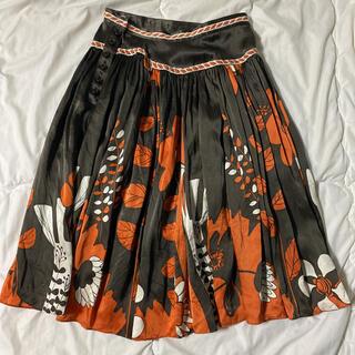 ツモリチサト(TSUMORI CHISATO)のツモリチサト シルク スカート プリント 花柄 秋色 ツモリ(ひざ丈スカート)