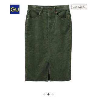ジーユー(GU)のGU ジーユー コーデュロイ タイトスカート スリット(ひざ丈スカート)