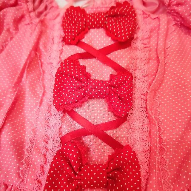 Angelic Pretty(アンジェリックプリティー)のアンジェリックプリティ初期布タグ付き新品配色ワンピースとリボン型ヘッドドレス レディースのワンピース(ひざ丈ワンピース)の商品写真