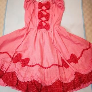 アンジェリックプリティー(Angelic Pretty)のアンジェリックプリティ初期布タグ付き新品配色ワンピースとリボン型ヘッドドレス(ひざ丈ワンピース)