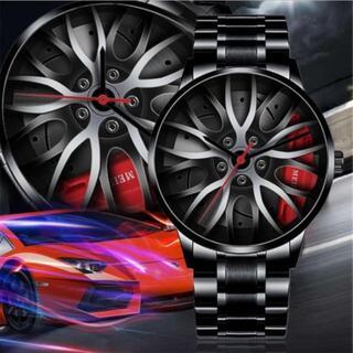 SALE メンズ 腕時計スーパーカー ホイール スポーツウォッチ 赤(腕時計(アナログ))