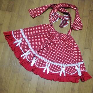 ボディライン(BODYLINE)のBODYLINE  赤 水玉 フリル リボン スカート (ひざ丈スカート)