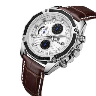 シックな高級感 MEGIRメンズ腕時計(ブラウンバンド&白ケース)#9-25a(腕時計(アナログ))