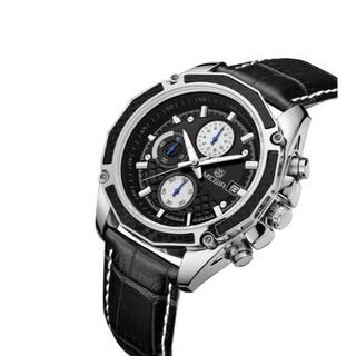 シックな高級感 MEGIRメンズ腕時計(黒バンド&黒ケース)#9-25a(腕時計(アナログ))