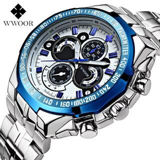 WWOORメンズ腕時計(新品・ブルー・電池も新品)#9-25a(腕時計(アナログ))
