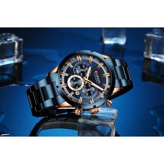 新品!ダークブルーが際立つ圧倒的存在感!メンズ腕時計#9-25a(腕時計(アナログ))