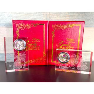 ビジョトヤジュウ(美女と野獣)のディズニー 美女と野獣 3Dクリスタル ガラス 置き時計(キャラクターグッズ)