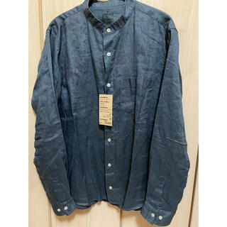 MUJI (無印良品) - 新品 未使用 無印 フレンチリネン 洗いざらし スタンドカラーシャツ M ブルー