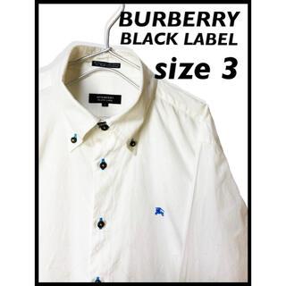 バーバリーブラックレーベル(BURBERRY BLACK LABEL)の交渉アリ❗️バーバリー ブラックレーベル サイズ3 長袖シャツ ホワイト 古着(シャツ)