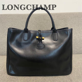 LONGCHAMP - 【極美品】 ロンシャン ロゾ ハンドバッグ ブラック フランス製 A4収納