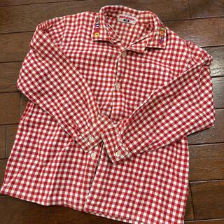 赤 刺繍 襟付き チェックシャツ 長袖 ミキハウス 120cm