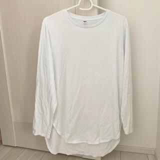 ユニクロ(UNIQLO)のユニクロ UNIQLO コットンロングシャツテールt 白 ホワイト(Tシャツ(長袖/七分))