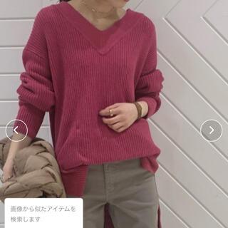 ミラオーウェン(Mila Owen)の畦編みVネックニットプルオーバー ミラオーウェン  新品 ピンク(ニット/セーター)