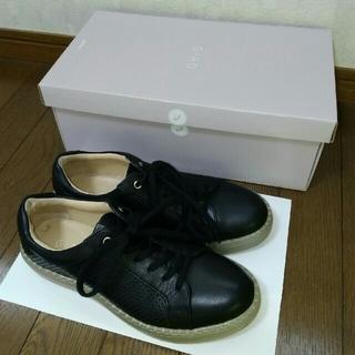 アシックス(asics)のアシックス ペダラGIROジーロ☆本革レザースニーカー靴 23.5cm黒 牛革 (スニーカー)
