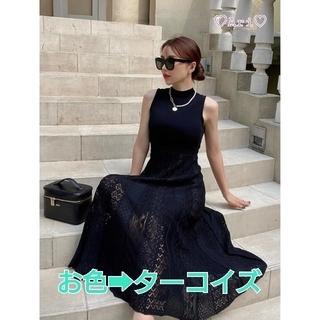 eimy istoire - 新品✨eimy【クロシェレースニットドレス】ターコイズ(フリーサイズ)