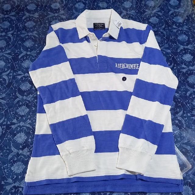Abercrombie&Fitch(アバクロンビーアンドフィッチ)のAbercrombie&Fitch綿ラガーシャツ白青ボーダーS新品タグ付 メンズのトップス(ポロシャツ)の商品写真