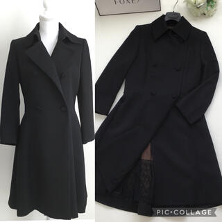 フォクシー(FOXEY)の美品 フォクシー FOXEY ウール 美しい刺繍 ブラック ロング コート(ロングコート)