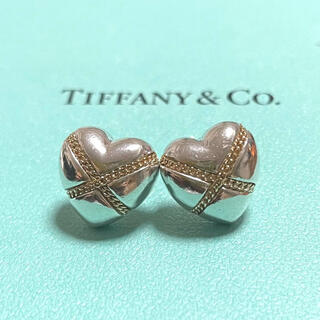 Tiffany & Co. - ティファニー ハート チェーン ピアス シルバー ゴールド コンビ