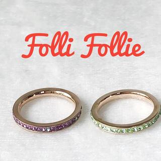 Folli Follie - Folli Follie フォリフォリ リング ラインストーンリング2連
