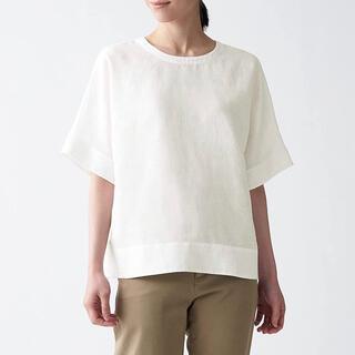ムジルシリョウヒン(MUJI (無印良品))の新品 無印良品 オーガニックリネン 洗いざらし 半袖ブラウス XS-S 白 (シャツ/ブラウス(半袖/袖なし))