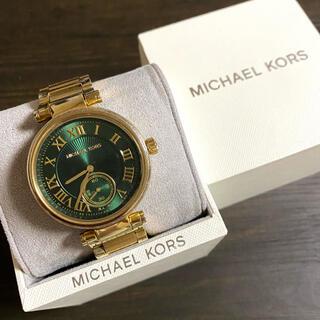 マイケルコース(Michael Kors)の【美品!!】マイケルコース 英字腕時計 ゴールド×グリーン ストーン 秋🎀(腕時計)