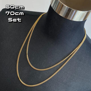 2set ゴールドチェーンネックレス 60cm 70cm 重ね付け アクセサリー