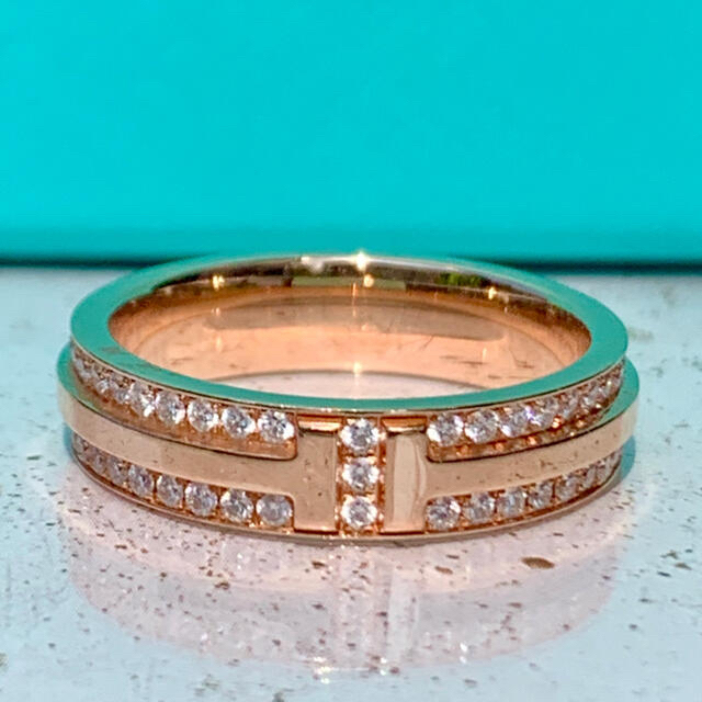 Tiffany & Co.(ティファニー)のティファニー Tツー ナロー リング パヴェ ダイヤモンド リング PG 10号 レディースのアクセサリー(リング(指輪))の商品写真