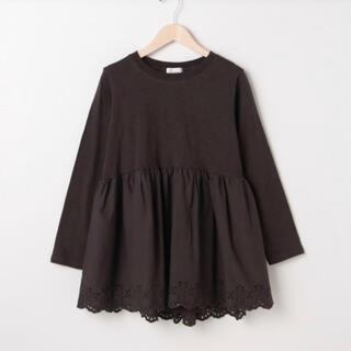 プティマイン(petit main)のプティマイン リアン  裾レース異素材切り替えペプラムTシャツ(Tシャツ(長袖/七分))