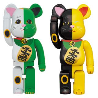 MEDICOM TOY - BE@RBRICK 招き猫 1000% 白×緑・黒×黄 セット