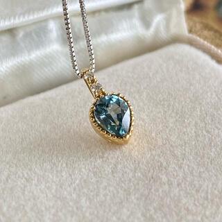 天然モンタナサファイア 天然ダイヤモンド ペンダントトップ メタリックブルー
