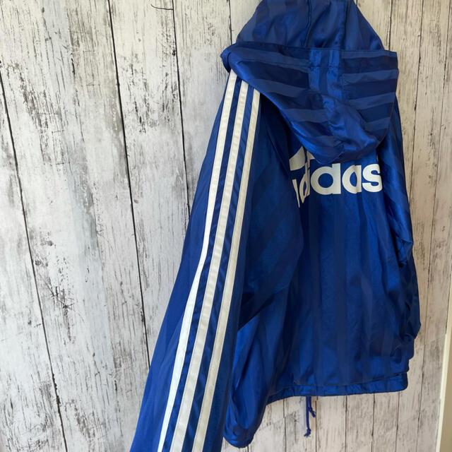 adidas(アディダス)のadidas アディダス ナイロンジャケット 刺繍ロゴ フード着脱 ストライプ メンズのジャケット/アウター(ナイロンジャケット)の商品写真