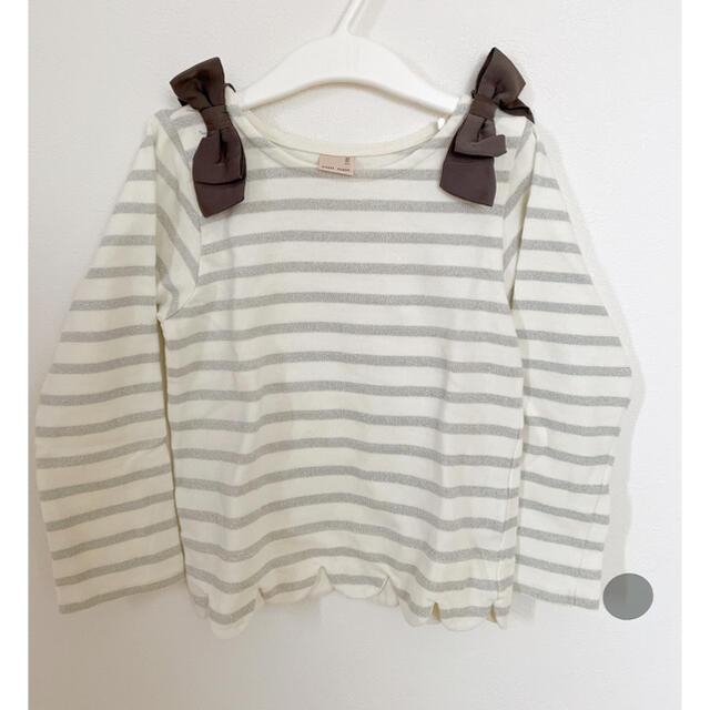 petit main(プティマイン)のプティマイン スカラップ トップス キッズ/ベビー/マタニティのキッズ服女の子用(90cm~)(Tシャツ/カットソー)の商品写真