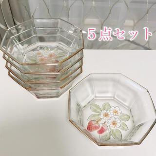 カメイガラス 苺 ボウル 器  5点セット 曽我ガラス ストロベリー プレート皿