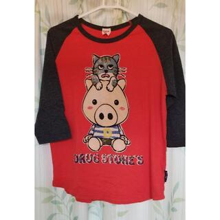 ドラッグストアーズ(drug store's)の新品タグ付き ドラッグストアーズ 七分袖Tシャツ オレンジ×グレー サイズ3(Tシャツ(長袖/七分))