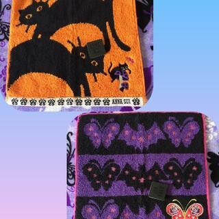 ANNA SUI - 2枚セット★アナスイ ハロウィンデザイン タオルハンカチ 黒猫 蝶々