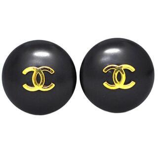 シャネル(CHANEL)のシャネル イヤリング 黒 ゴールド ココマーク GP(リング(指輪))