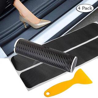 激安出品 カーボン調 4枚組 ステップのキズ防止 スカッフプレートステッカー