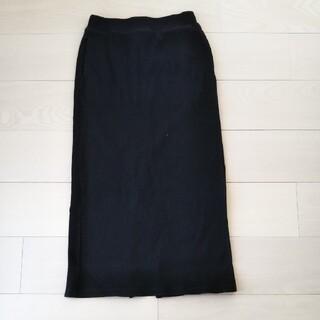 ユニクロ(UNIQLO)のリブタイトスカート 黒(ロングスカート)