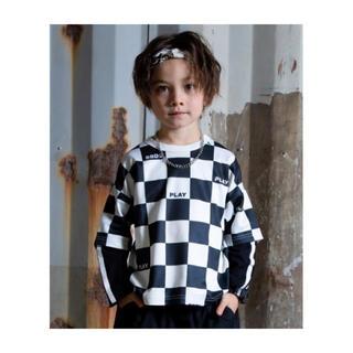 ベビードール(BABYDOLL)のBABYDOLL チェッカー柄レイヤードロンT ブラック 150cm(Tシャツ/カットソー)
