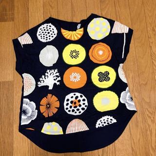 Design Tshirts Store graniph - グラニフ レディーストップス 黒 半袖Tシャツ レトロ フリーサイズ ボタン